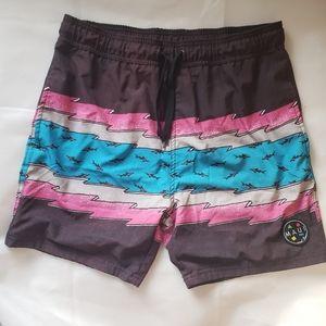 3/25$ Maui men swim trunks brown pink blue medium